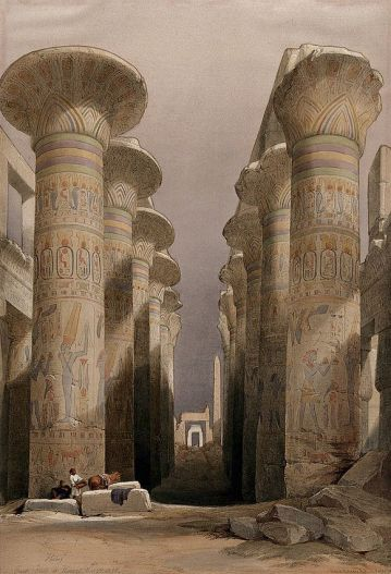 Decorated_pillars_of_the_temple_at_Karnac,_Thebes,_Egypt._Co_Wellcome_V0049316.jpg